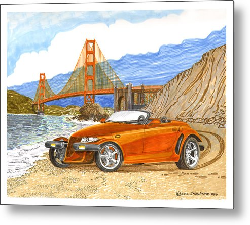 2002 Plymouth Prowler Sexy & Tight Seamed Sports Car Metal Print featuring the painting 2002 Plymouth Prowler by Jack Pumphrey