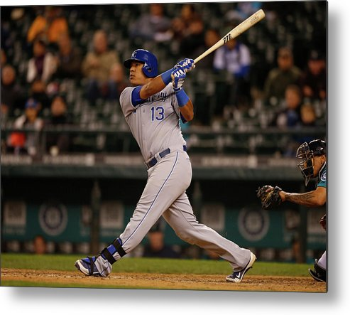 Salvador Perez Diaz Metal Print featuring the photograph Kansas City Royals V Seattle Mariners by Otto Greule Jr