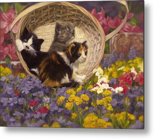Cat Metal Print featuring the painting A Basket Of Cuteness by Lucie Bilodeau