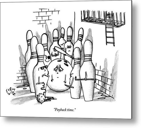 Bowling Metal Print featuring the drawing A Rough Gang Of Ten Bowling Pins Holding Weapons by Farley Katz