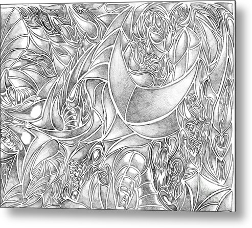 Abstract Drawing In Pencil What Do You See Series Metal Print