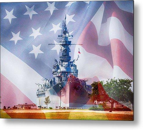 Alabama Metal Print featuring the digital art Battleship Alabama And Flag by Michael Thomas