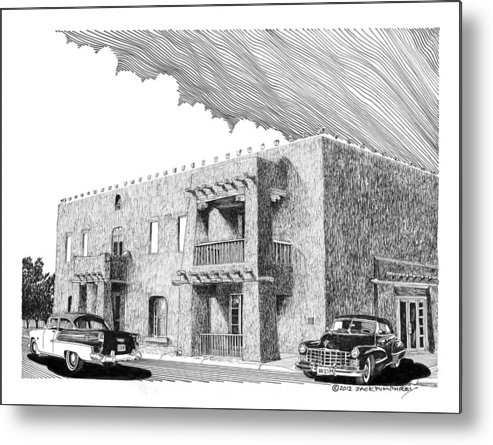 Pen And Ink Art By Jack Pumphrey During Most Of The 20th Century This Grand Old Building Served The Community As A Social Gathering Place With Fine Dining Metal Print featuring the drawing Amador Hotel In Las Cruces N M by Jack Pumphrey
