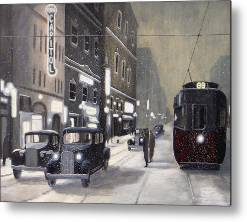 Winter Archive Snow Vintage Historic Winnipeg Canada Metal Print featuring the painting An Evening On Portage Avenue by Dave Rheaume