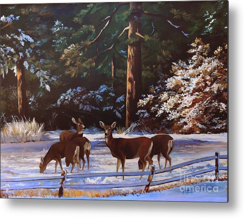 Deer Metal Print featuring the painting Backyard Visitors by Suzanne Schaefer