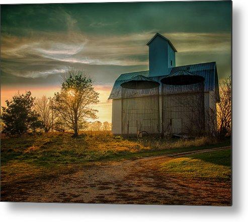 Autumn Metal Print featuring the photograph Barn At Sunset by John Ullrick