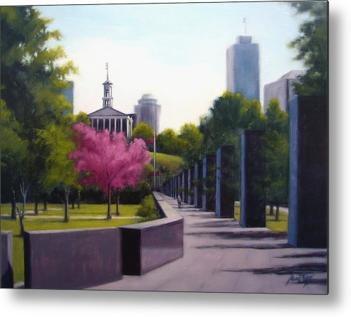 Capital Building In Nashville Tennessee Metal Print featuring the painting Bicentennial Capital Mall Park by Janet King