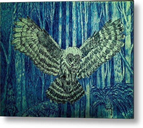 Black Owl On Blue Night Metal Print featuring the drawing Black Owl On Blue Night by Rodger Larson