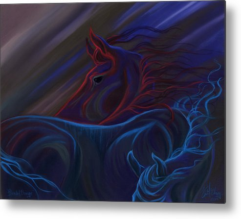 Colorful Horses Metal Print featuring the pastel Blended Beings by Kim McElroy