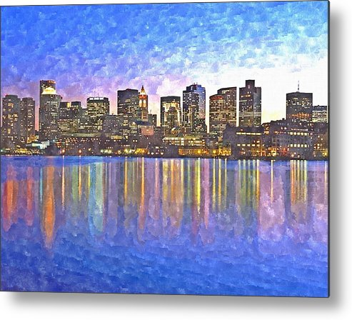Boston Metal Print featuring the painting Boston Skyline By Night by Rachel Niedermayer