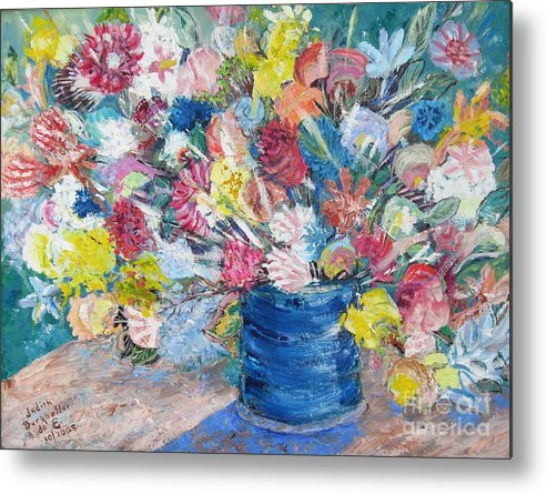 Flowers Metal Print featuring the painting Bouquet 1 - Sold by Judith Espinoza