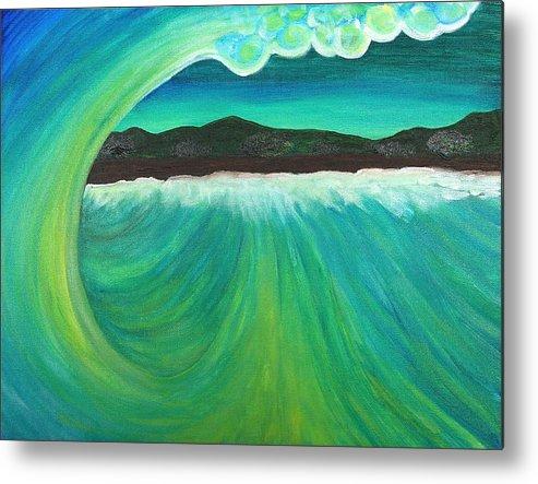 Ocean Metal Print featuring the painting Breaking Wave by Jason Kuncas