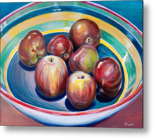 Apples Metal Print featuring the painting Red Apples In Striped Bowl by Jennifer Lycke