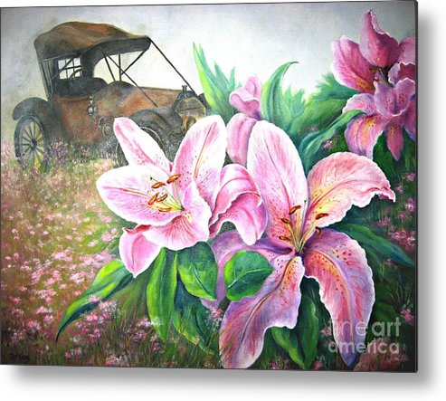 Lilies Metal Print featuring the painting By Gone Days by Patricia Lang
