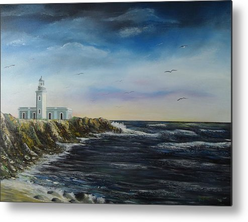 Cabo Rojo Lighthouse Metal Print featuring the painting Cabo Rojo Lighthouse by Tony Rodriguez