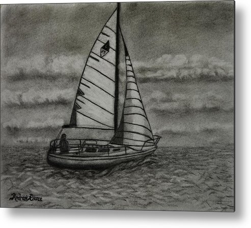 Sailboat Metal Print featuring the drawing Catalina 25 by Andrew Pierce