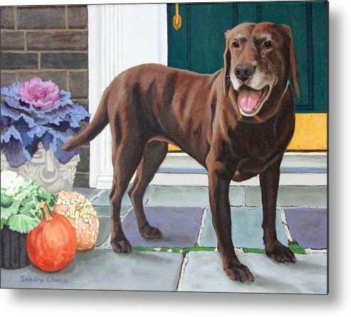 Dog Metal Print featuring the painting Chelsea At The Door by Sandra Chase