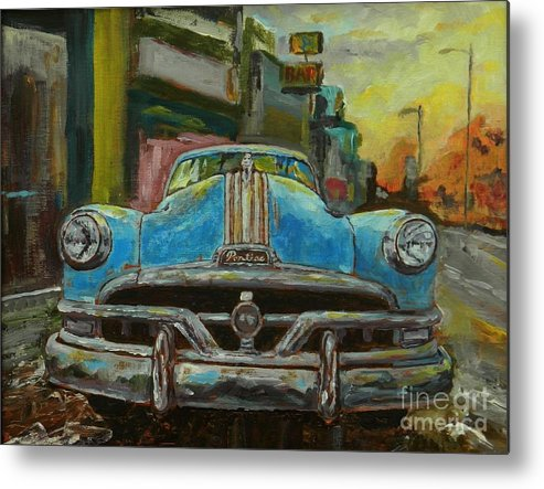 Urban Landscape Metal Print featuring the painting Classic Pontiac by William Reed