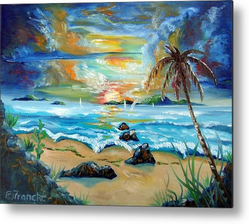 Caribbean Metal Print featuring the painting Colorful Sunset by David Francke