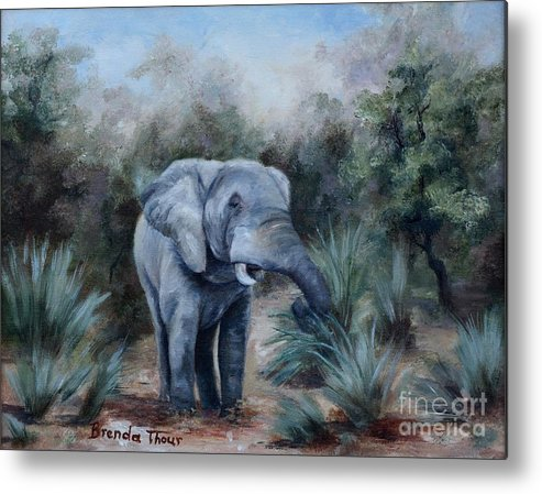 Wildlife Metal Print featuring the painting Coming Through by Brenda Thour