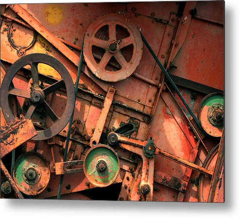 Farm Equipment Rust Rusty Red Belts Metal Print featuring the photograph Complicated by Donal Waites