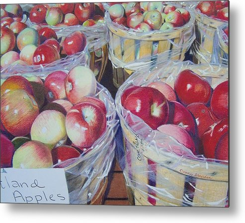 Apple Metal Print featuring the mixed media Cortland Apples by Constance Drescher