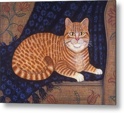 Folk Art Cat Metal Print featuring the painting Curry The Cat by Linda Mears