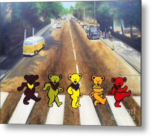 Beatles Metal Print featuring the painting Dead On Abbey Road by Jen Santa