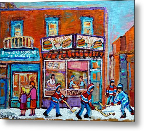 Montreal Metal Print featuring the painting Decarie Hot Dog Restaurant Ville St. Laurent Montreal by Carole Spandau