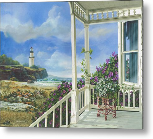 Lighthouse Metal Print featuring the painting Distant Dreams by Michael Humphries