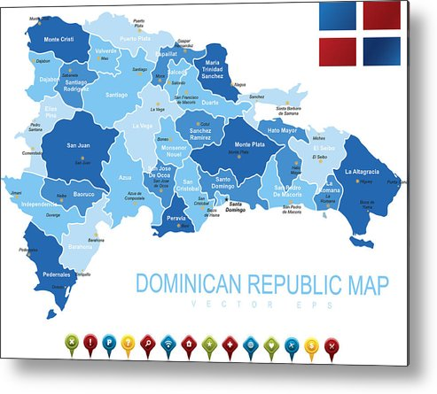 Dominican Republic Map Metal Print by Stock_art on