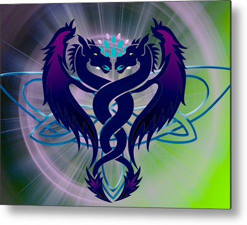 Purple Metal Print featuring the digital art Dragon Duel Series 2 by Teri Schuster