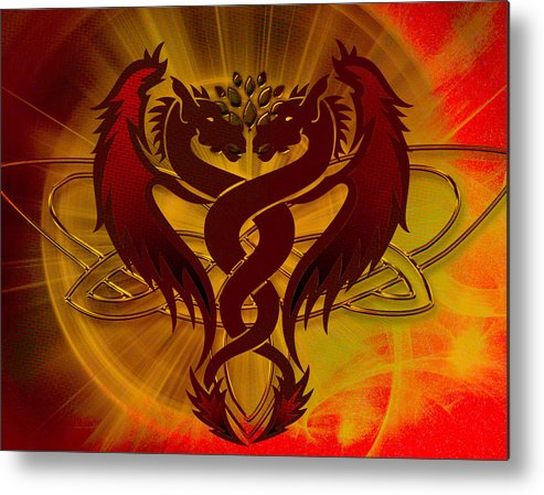 Red Metal Print featuring the digital art Dragon Duel Series 5 by Teri Schuster