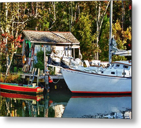 Fish Metal Print featuring the painting Fish Shack And Invictus Painted by Michael Thomas
