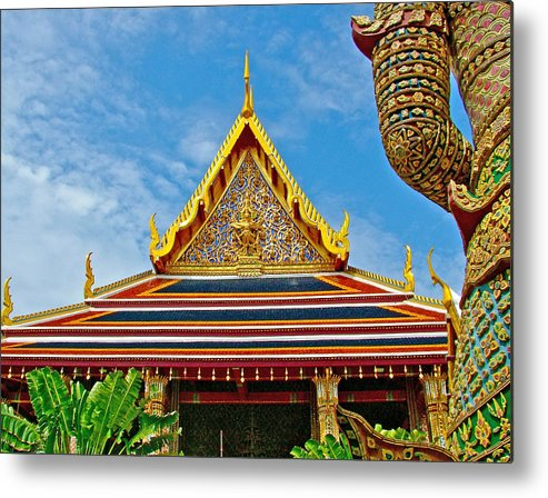 Front Of Royal Temple At Grand Palace Of Thailand In Bangkok Metal Print featuring the photograph Front Of Royal Temple At Grand Palace Of Thailand In Bangkok by Ruth Hager