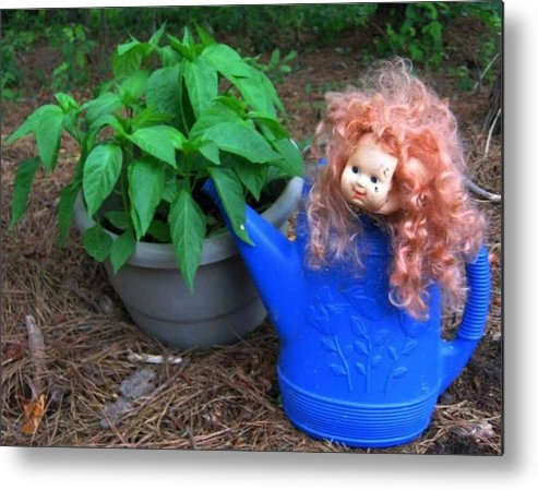 Joy Metal Print featuring the photograph Gardening Joy by Bonnie Clark Weatherford