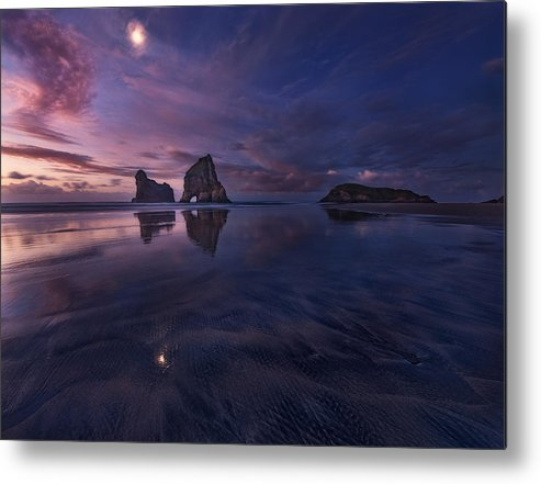Night Metal Print featuring the photograph Golden Bay When Night Falls by Yan Zhang