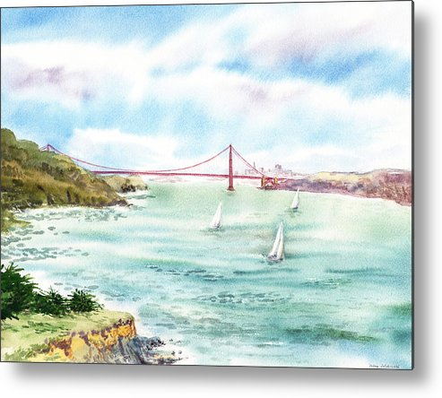 San Francisco Metal Print featuring the painting Golden Gate Bridge View From Point Bonita by Irina Sztukowski