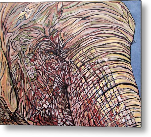 Elephant Metal Print featuring the painting Goldie by Aimee Vance