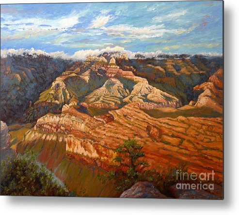 Landscape Metal Print featuring the painting Grand Canyon Sun Light by Francesca Kee