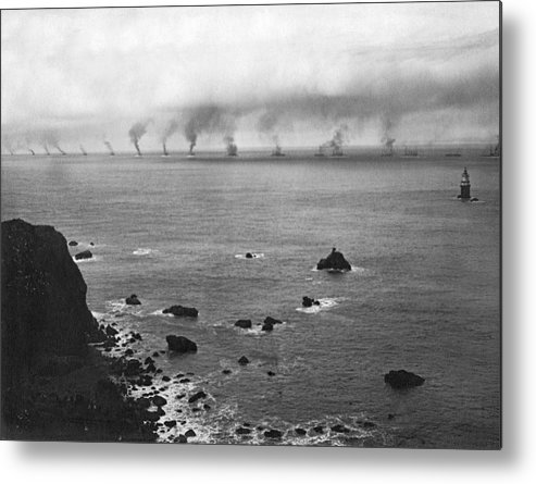 16 Battleships Metal Print featuring the photograph Great White Fleet Visits Sf by Underwood Archives