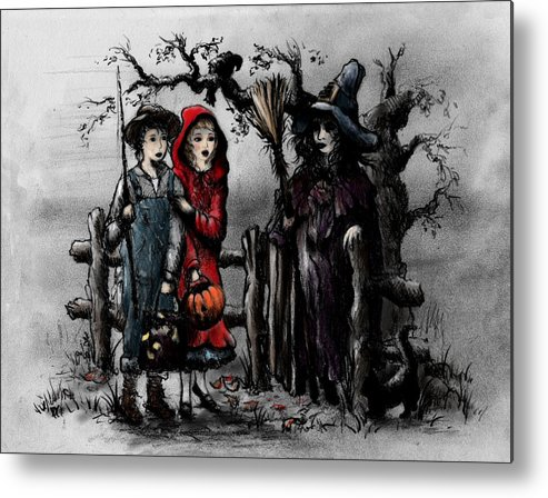 Halloween Metal Print featuring the drawing Halloween Night by Rachel Christine Nowicki