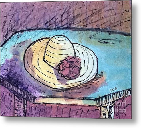 Hat Metal Print featuring the painting Hat On Table by J Nell Bliss