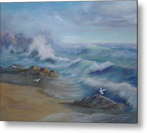 Seascape Metal Print featuring the painting High Tide by Rita Palm