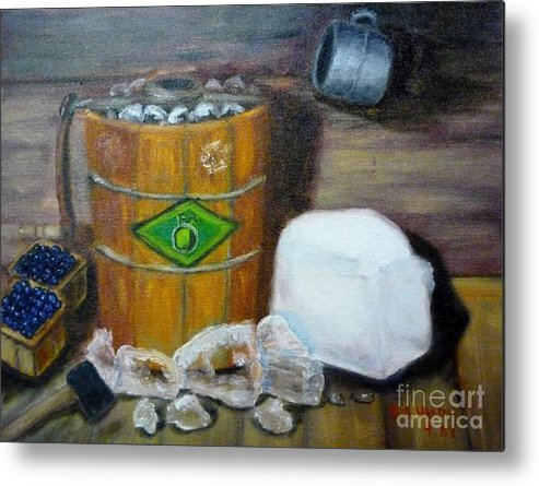 Wooden Bucket Metal Print featuring the painting Home Made Ice Cream by Beverly Hanni