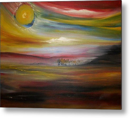 Landscape Metal Print featuring the painting Inside The Sunset by Jake Huenink
