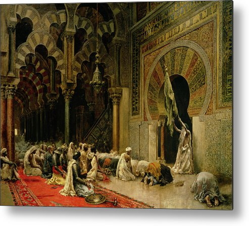 Interior Of The Mosque At Cordoba Metal Print featuring the painting Interior Of The Mosque At Cordoba by Edwin Lord Weeks