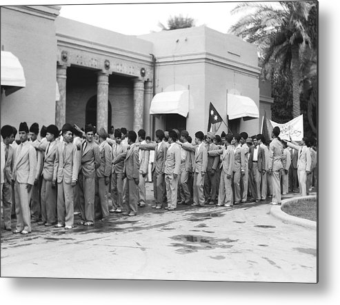 1932 Metal Print featuring the photograph Iraqis Salute King Faisal by Underwood Archives