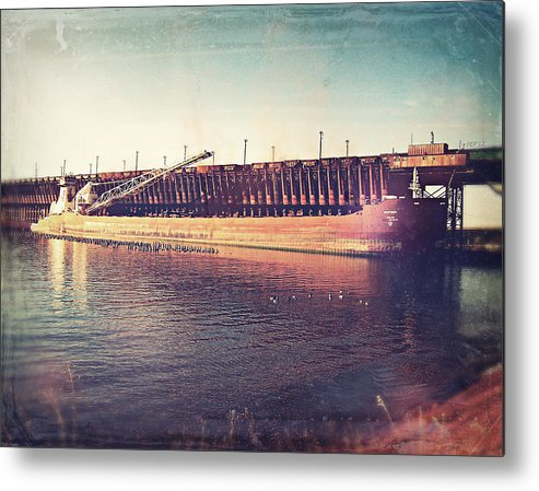 Iron Ore Freighter Metal Print featuring the digital art Iron Ore Freighter In Dock by Phil Perkins