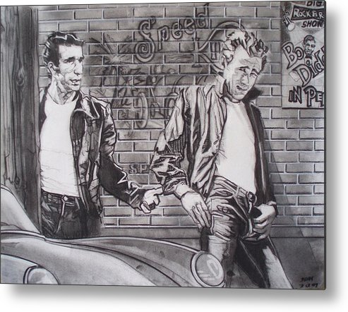 Americana Metal Print featuring the drawing James Dean Meets The Fonz by Sean Connolly